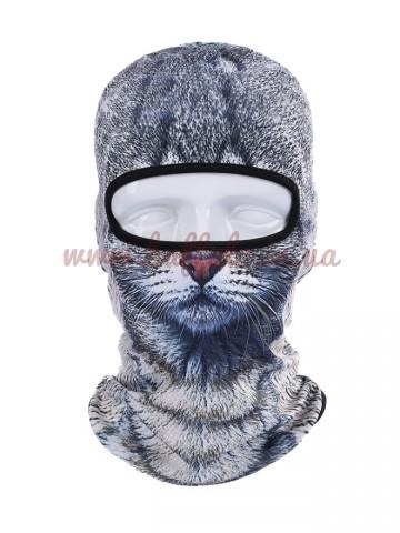 Балаклава 3D принт Кот Серый